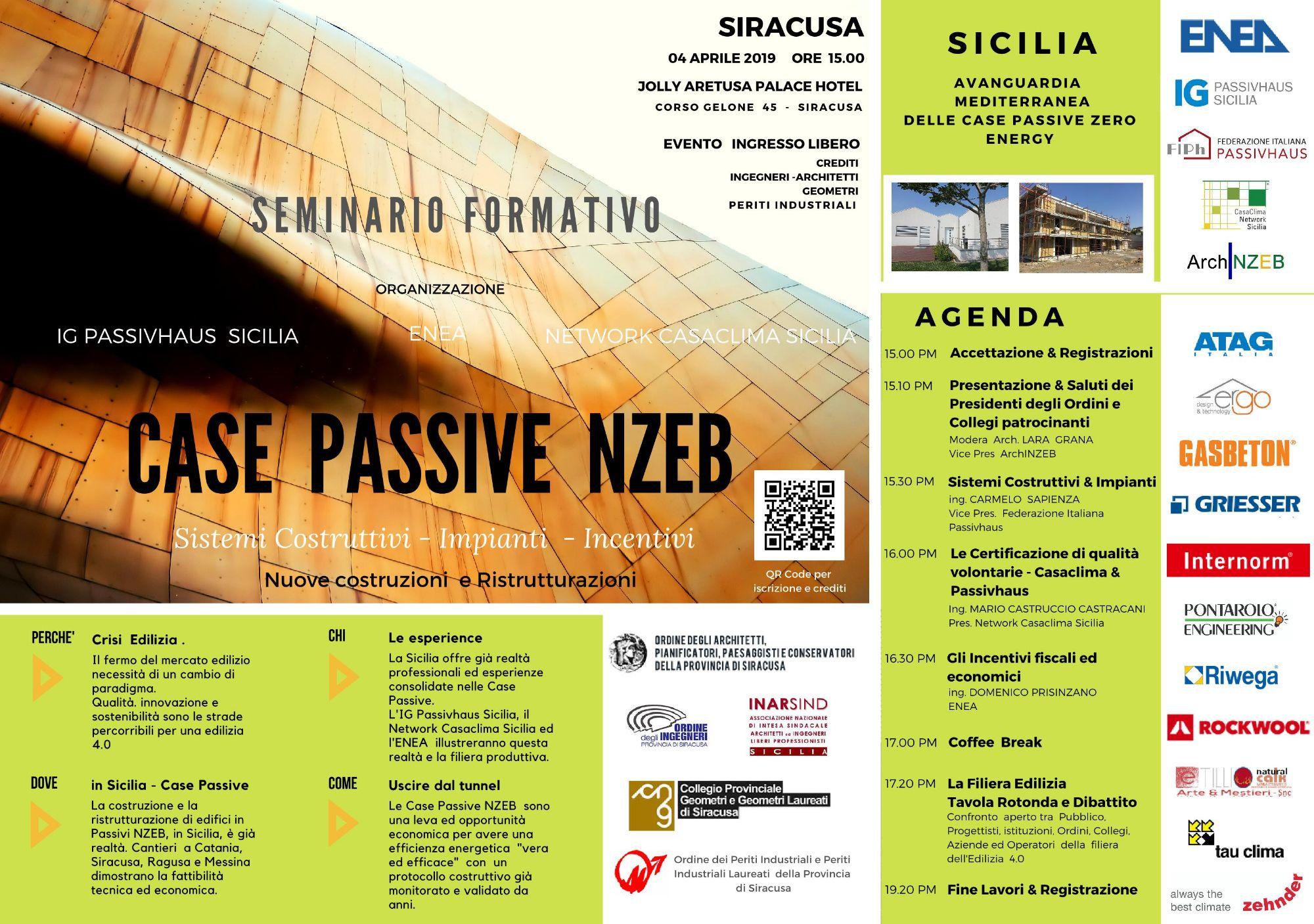 SR - CASE Passive Zero Energy - Incontro Convegno a Siracusa - 04 Aprile 2019